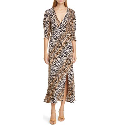 Rixo Carmen Ombre Cheetah Print Dress, US / 16 UK - Brown