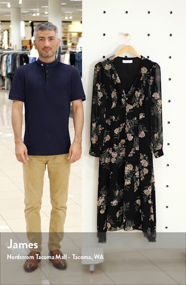 Floral Long Sleeve Midi Dress, sales video thumbnail