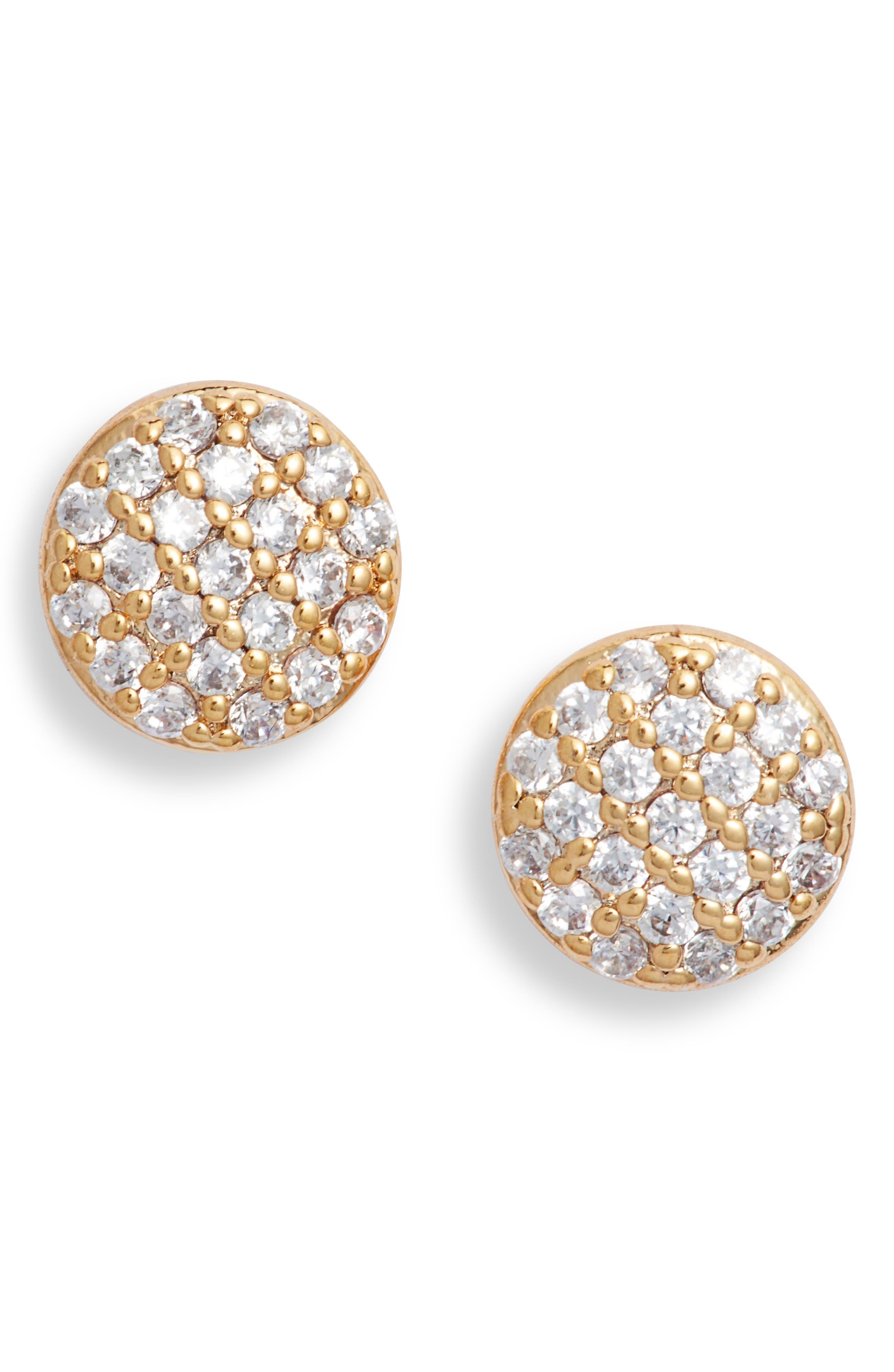 Pave Disc Stud Earrings