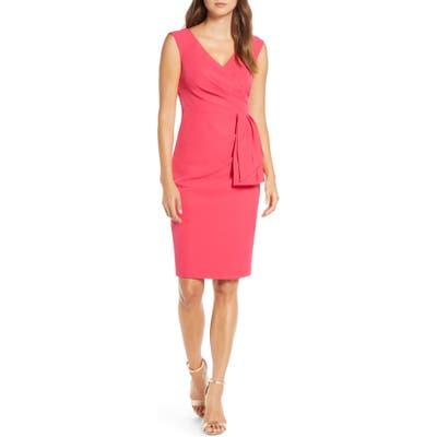 Petite Eliza J Drape Crepe Sheath Dress, Pink