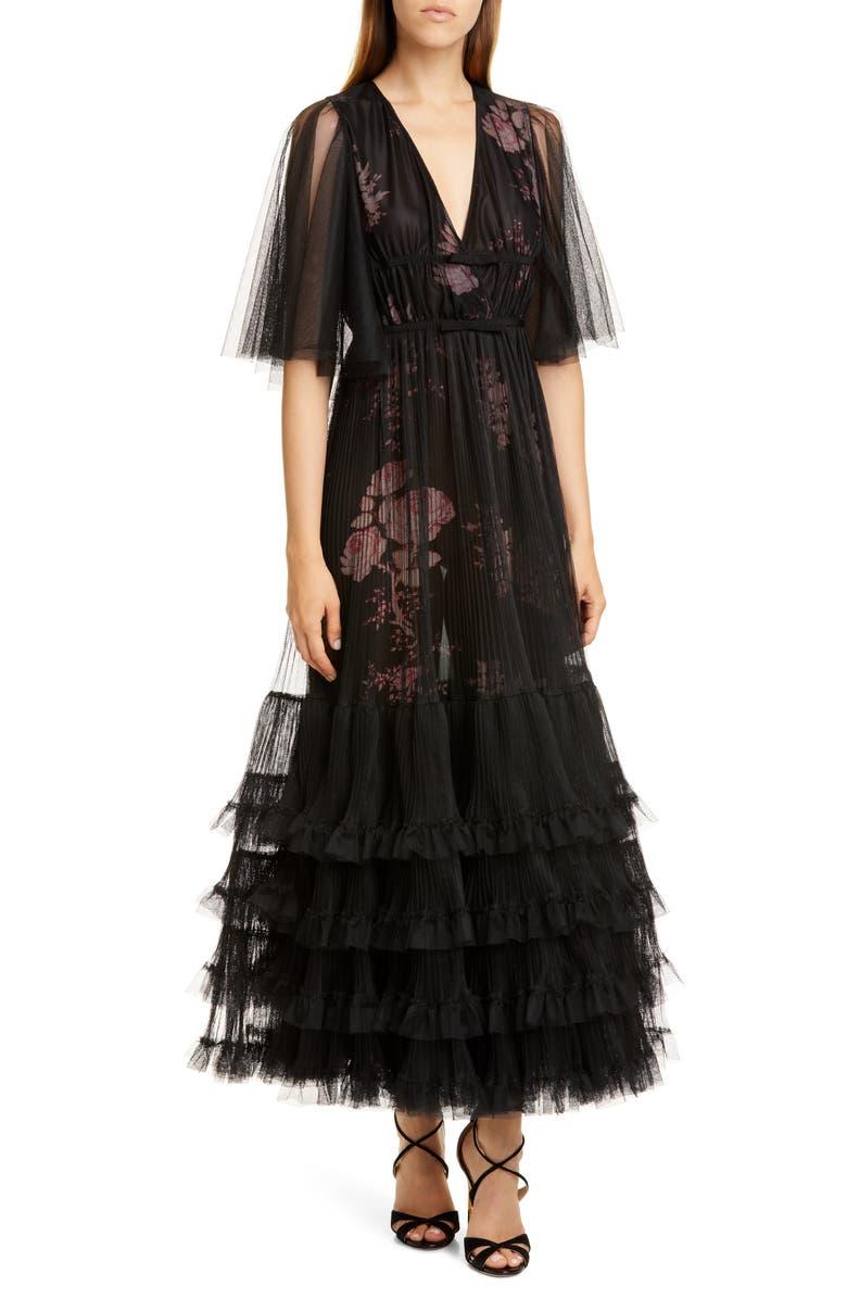 GIAMBATTISTA VALLI Pleated Tulle Overlay Floral Gown, Main, color, 001