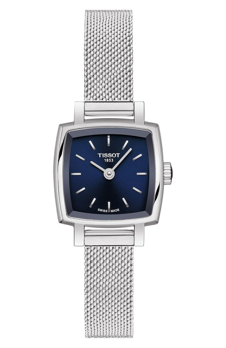 TISSOT Lovely Square Mesh Strap Watch, 20mm, Main, color, SILVER/ BLUE/ SILVER