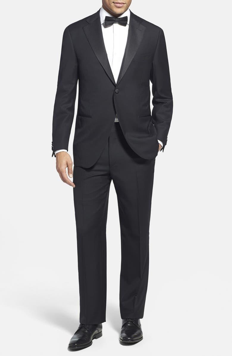 CORNELIANI Trim Fit Wool Tuxedo, Main, color, 001
