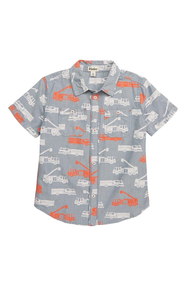 ff8248b32b0 Hatley Fire Trucks Print Woven Shirt (Toddler Boys, Little Boys ...