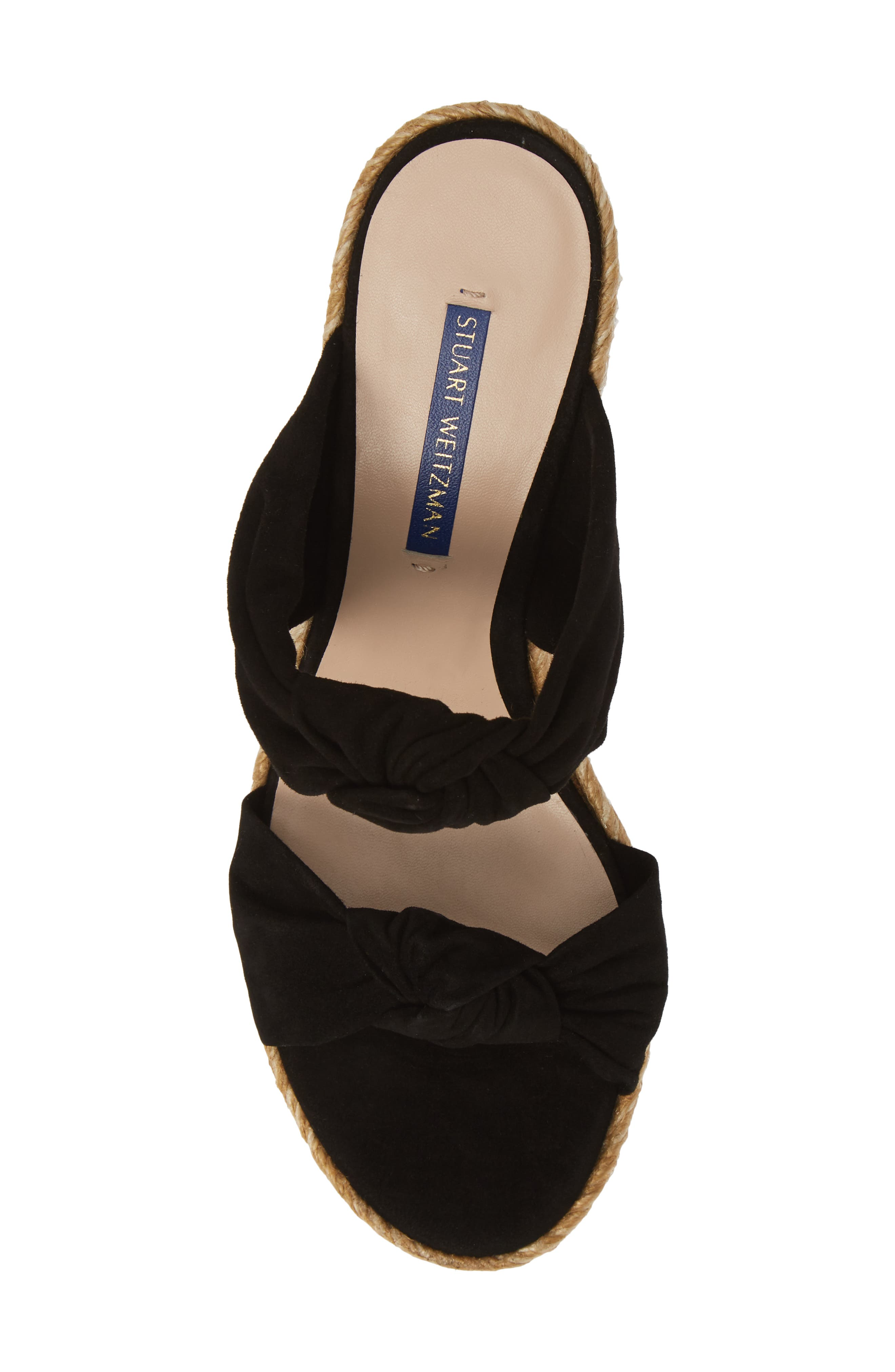 ,                             Sarina Espadrille Wedge Slide Sandal,                             Alternate thumbnail 5, color,                             BLACK SUEDE