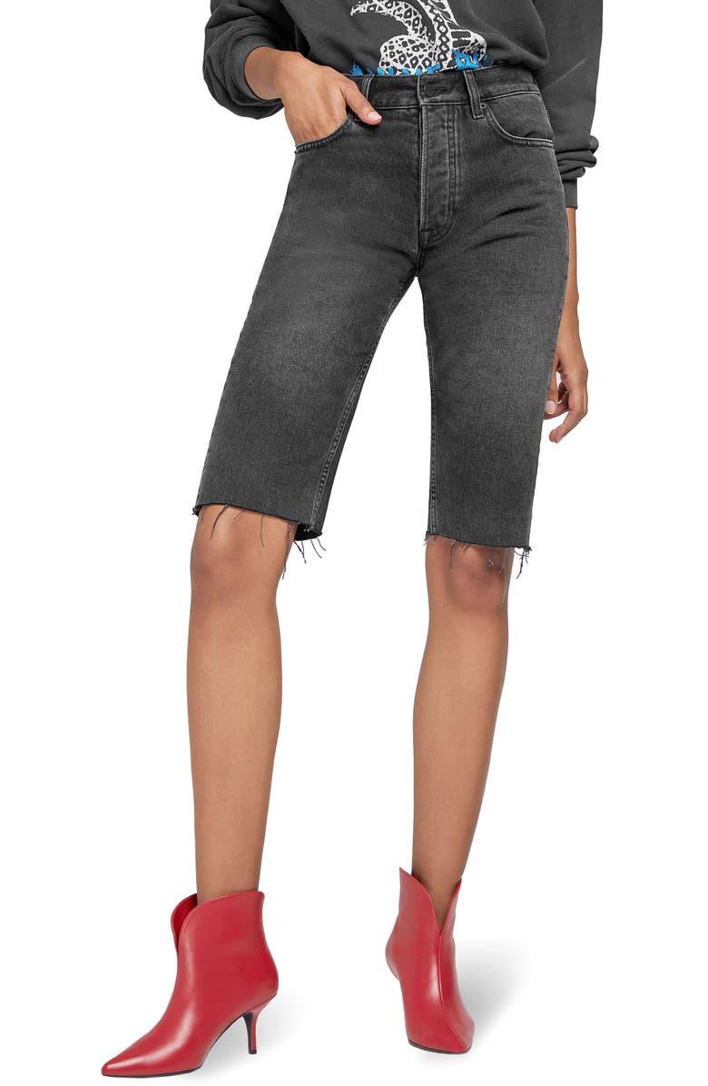 ANINE BING Phoebe Raw Hem Denim Shorts, Main, color, CHARCOAL