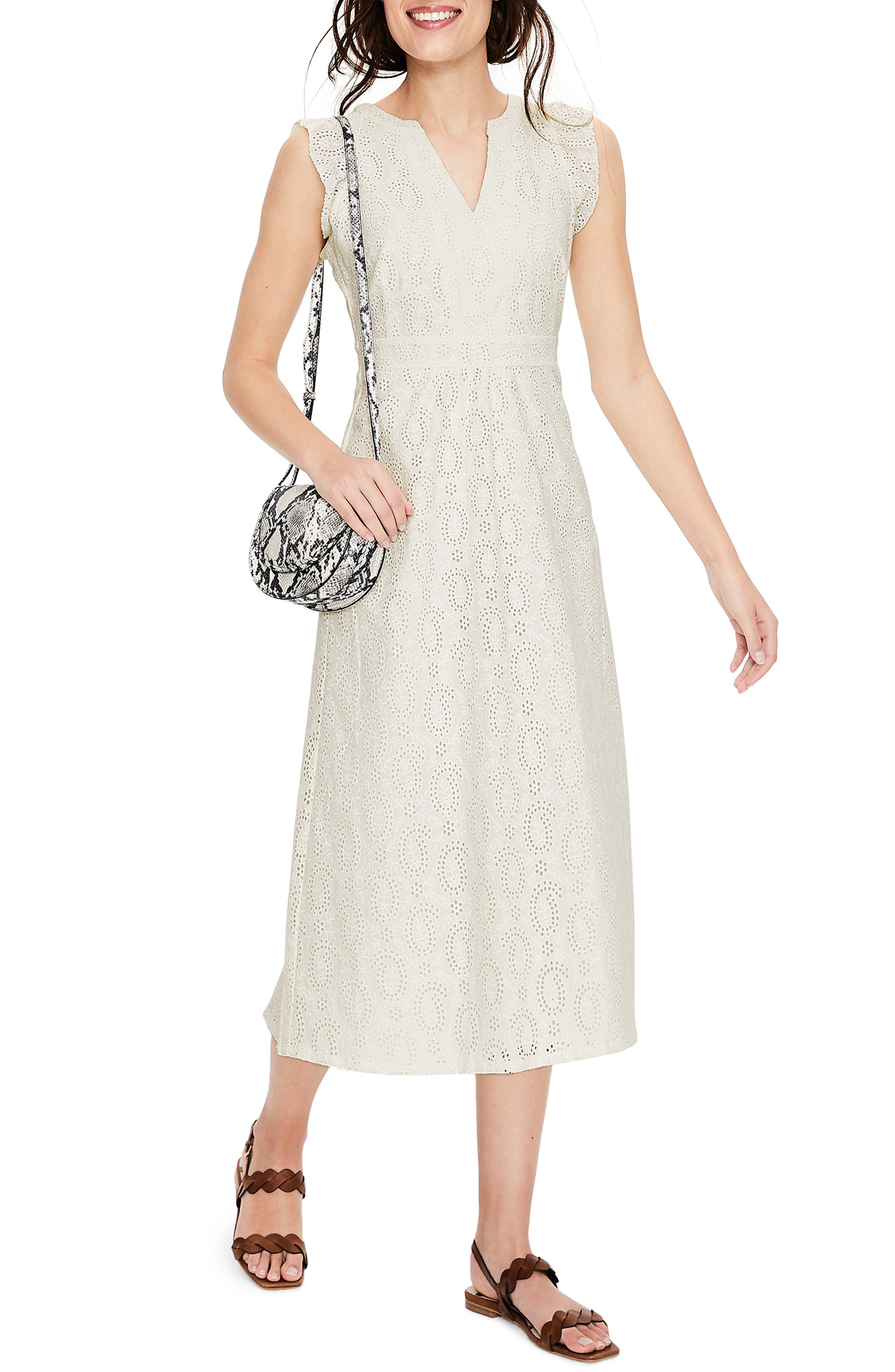 Petite Boden Hallie Broderie Lace Midi Dress, White
