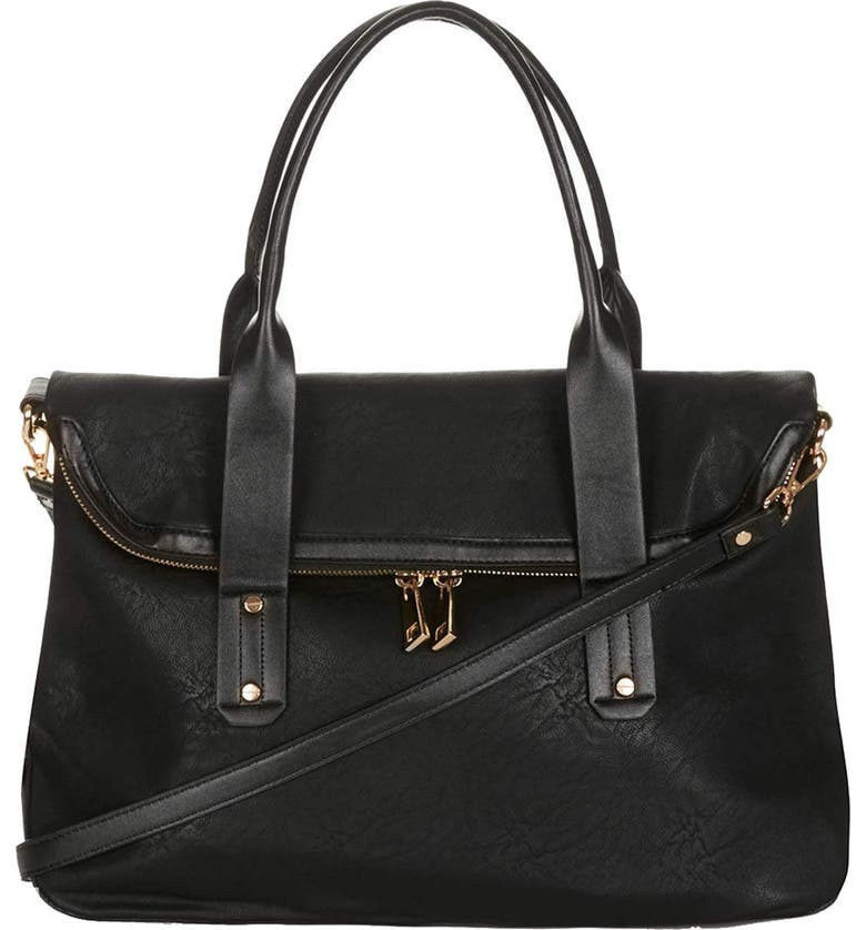 TOPSHOP Foldover Faux Leather Holdall Bag, Main, color, 001