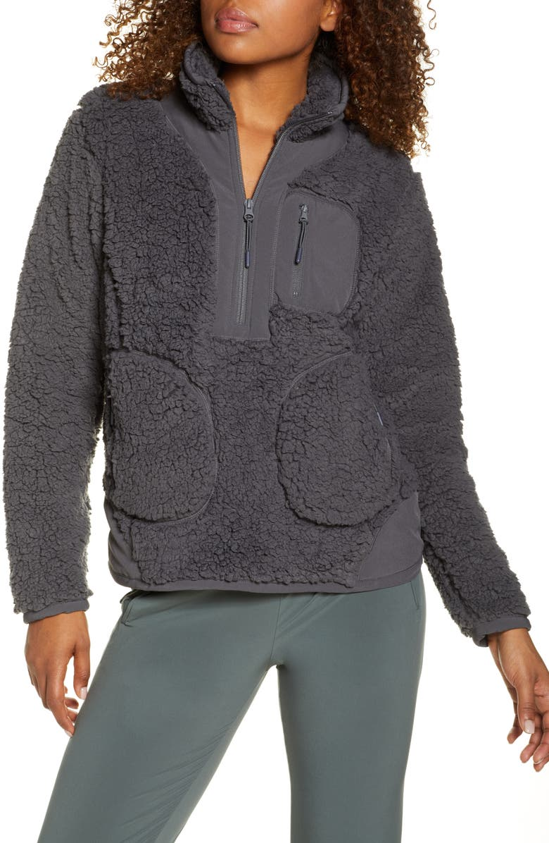 ZELLA Mix It Up Faux Shearling Half Zip Pullover, Main, color, 021