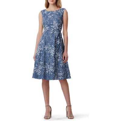 Tahari Sleeveless Embroidered Dress, Blue