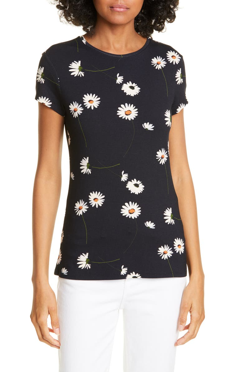 TED BAKER LONDON Daisy Print Fitted Tee, Main, color, DK-BLUE
