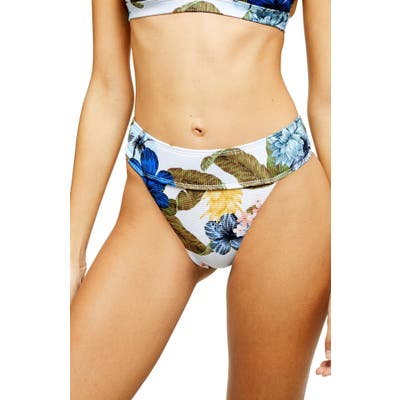Topshop Ribbed Hawaiian High Waist Bikini Bottoms, US (fits like 14) - White