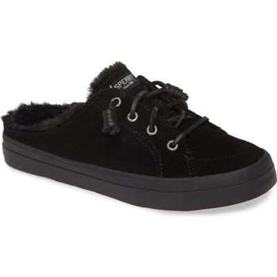 Sperry Crest Vibe Faux Fur Trim Mule Sneaker- Black