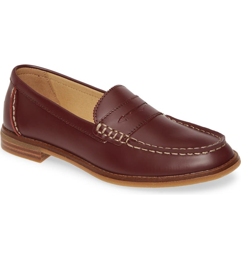 SPERRY Seaport Penny Loafer, Main, color, BURGUNDY BOX LEATHER