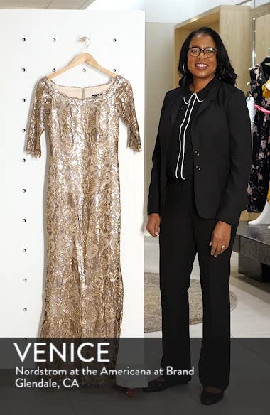 Embroidered Sequin Trumpet Gown, sales video thumbnail