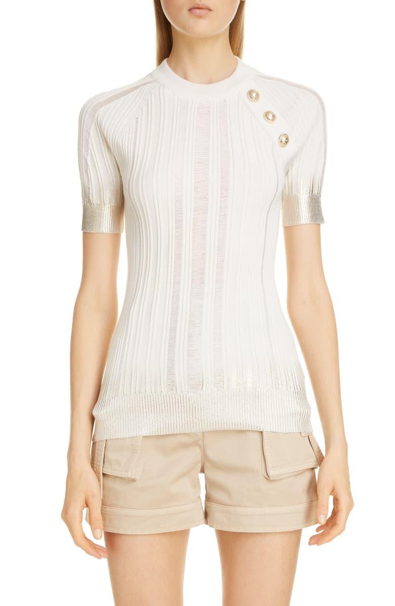 BALMAIN Metallic Dégradé Rib Wool, Silk & Cashmere Sweater, Main, color, BLANC