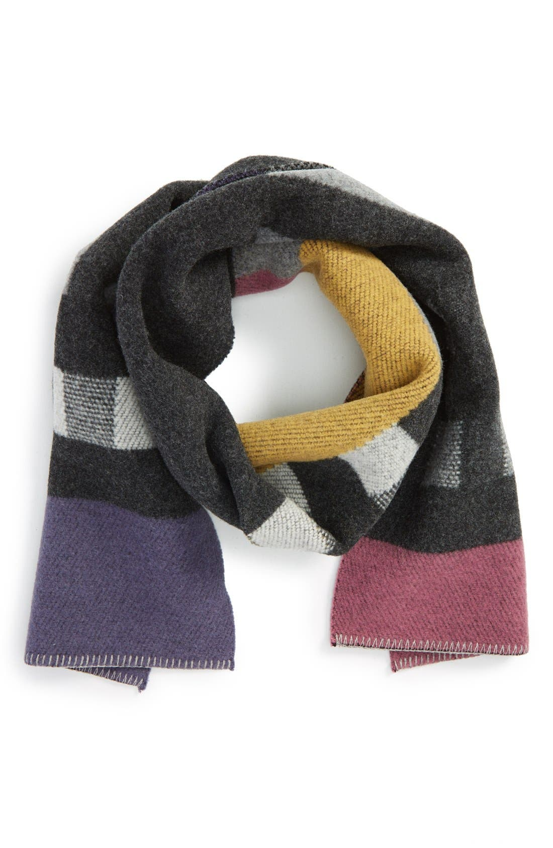 ,                             Check Wool & Cashmere Blanket Scarf,                             Main thumbnail 7, color,                             650