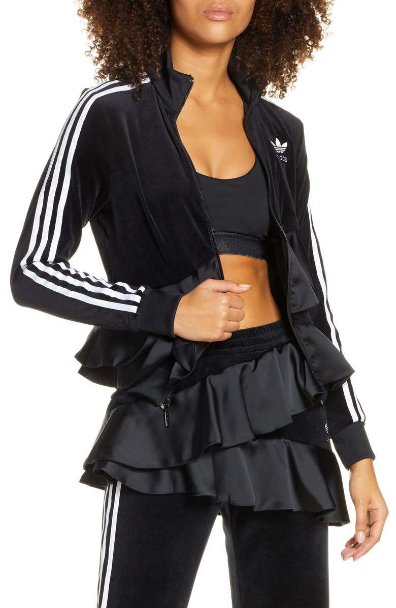 ADIDAS ORIGINALS Ruffle Track Jacket, Main, color, BLACK