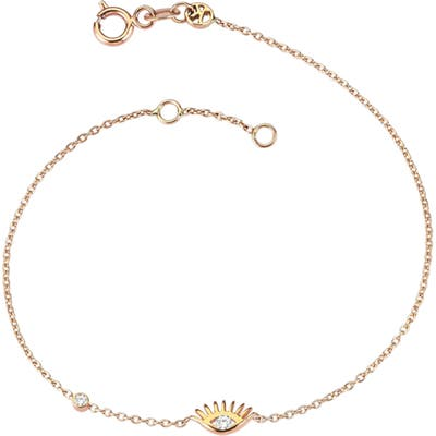 Kismet By Milka Evil Eye White Diamond Solitaire Bracelet