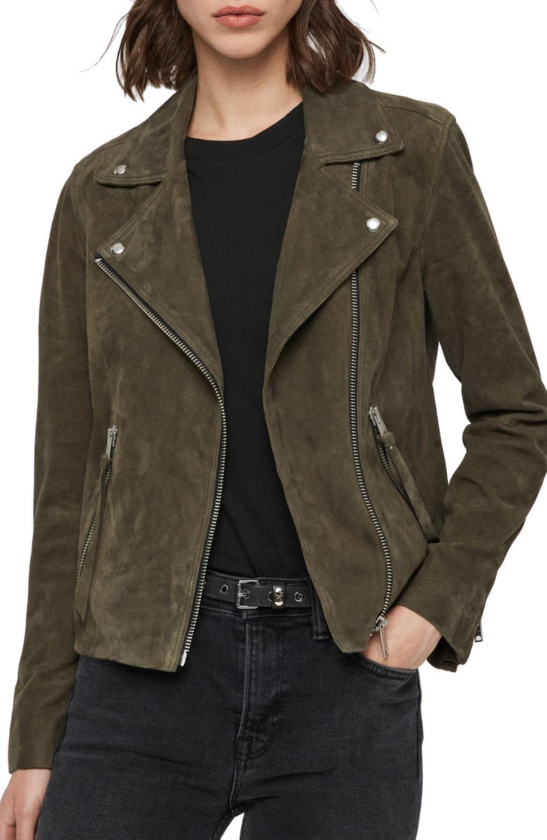 ALLSAINTS Dalby Suede Biker Jacket, Main, color, EMERALD GREEN