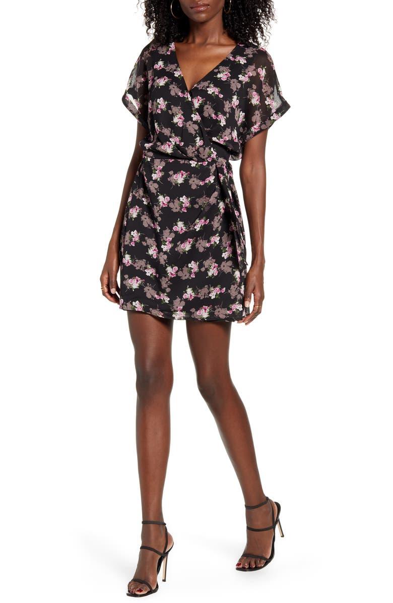 ALL IN FAVOR Simone Floral Wrap Front Minidress, Main, color, BLACK LAVENDER FLORAL