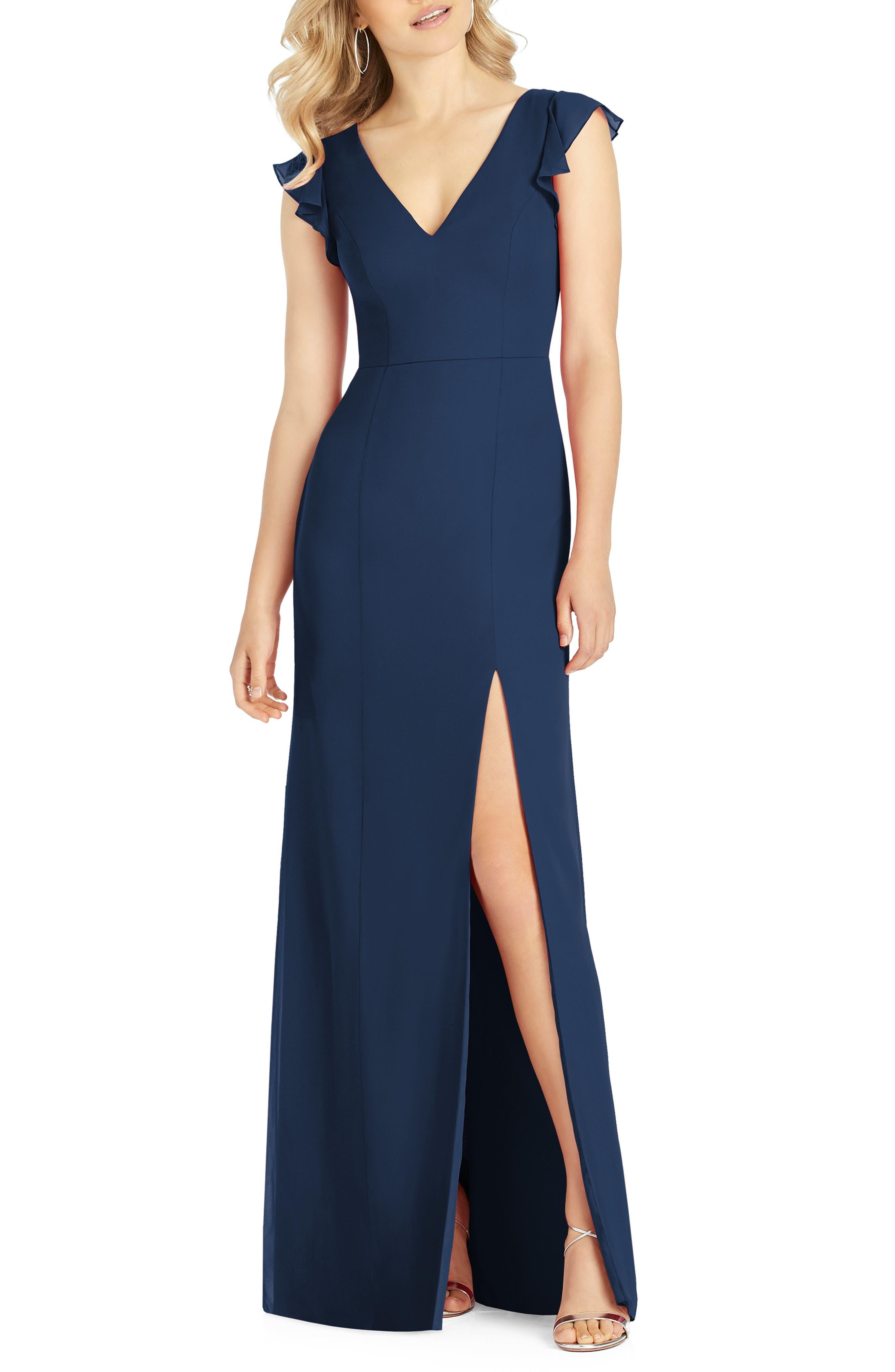 After Six V-Neck Ruffle Sleeve Evening Dress, Blue