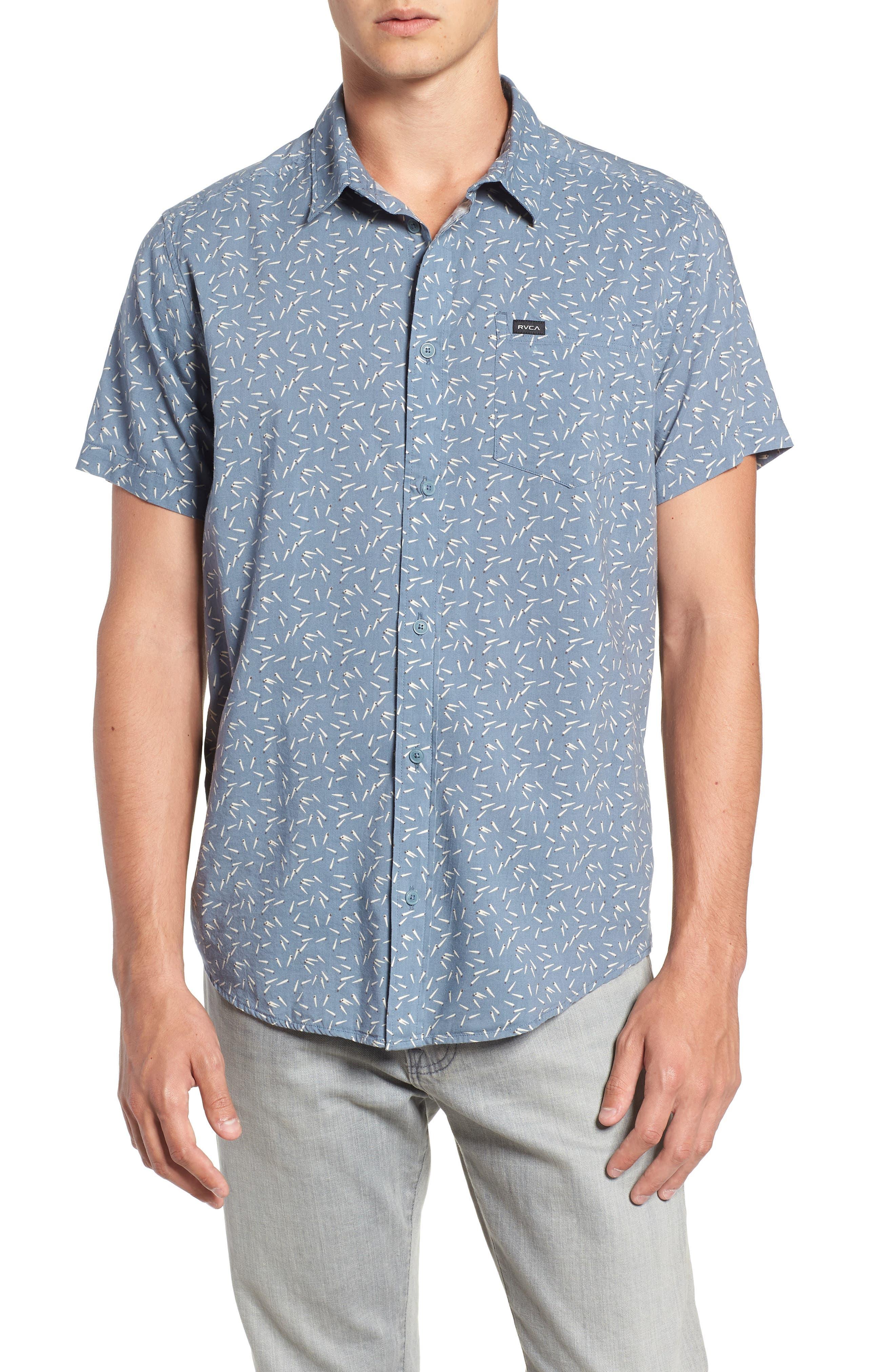 ,                             Pins & Needles Slim Fit Woven Shirt,                             Main thumbnail 6, color,                             434