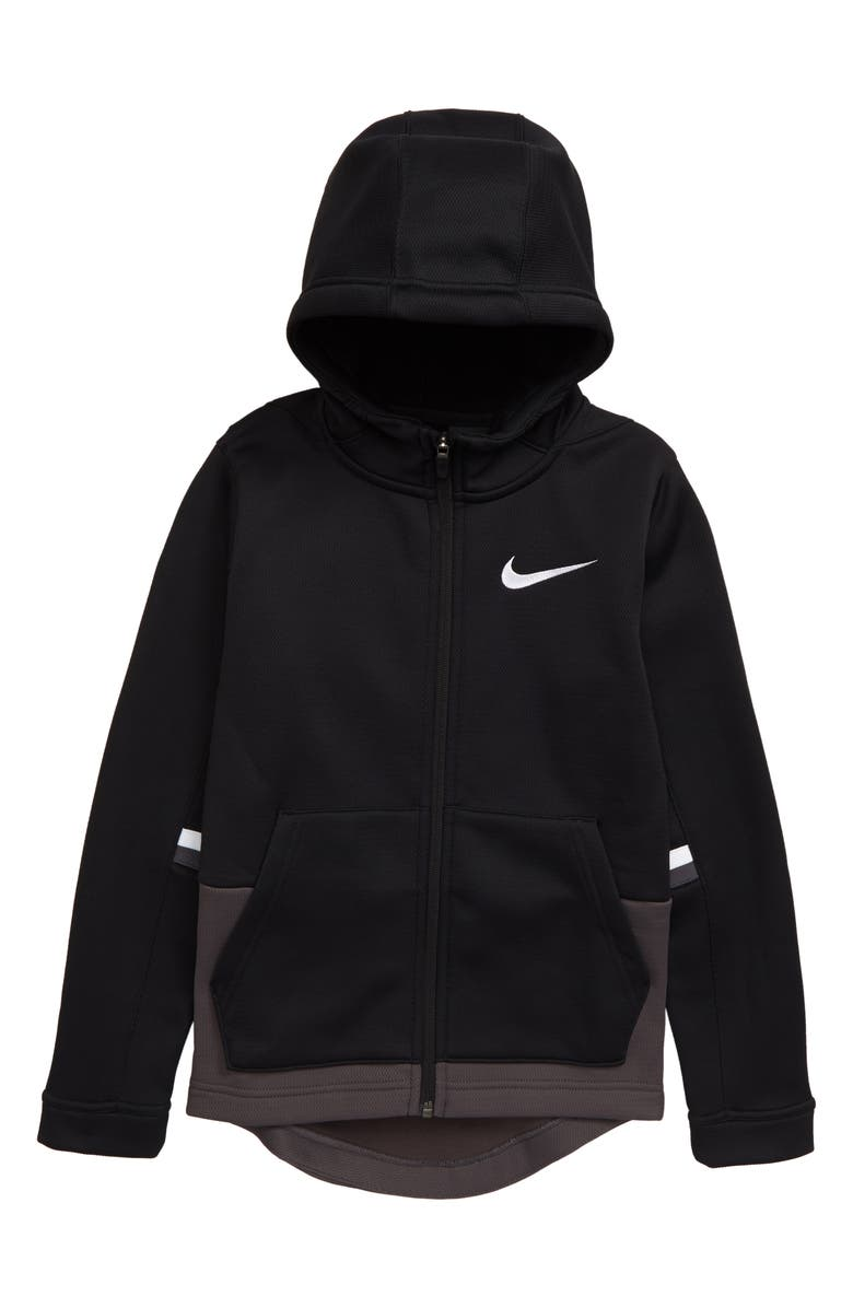 NIKE Therma Elite Dri-FIT Full Zip Hoodie, Main, color, BLACK/ THUNDER GREY