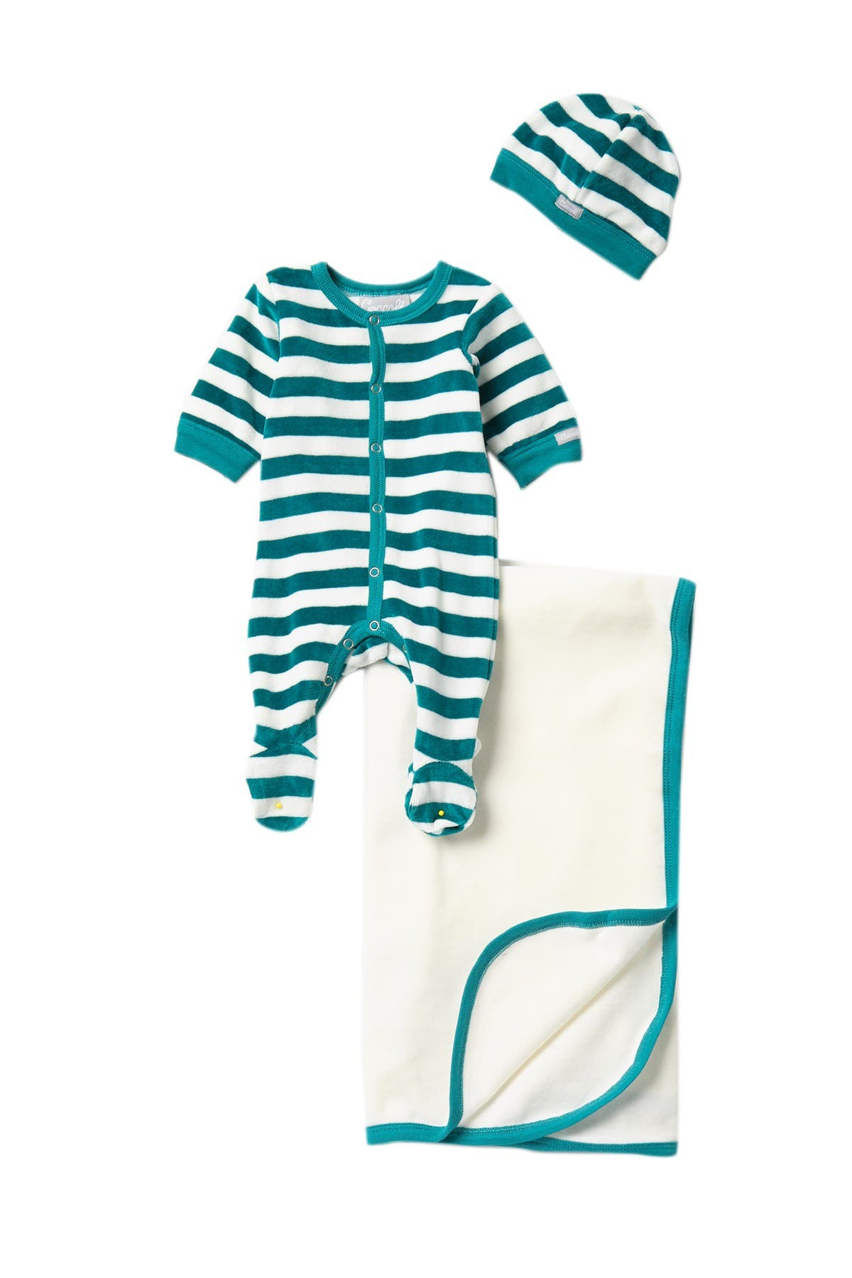 Image of Coccoli Striped Velour Footie Bodysuit, Cap, & Blanket Set