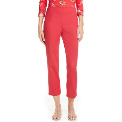 St. John Collection Audrey Stretch Micro Ottoman Capri Pants, Red