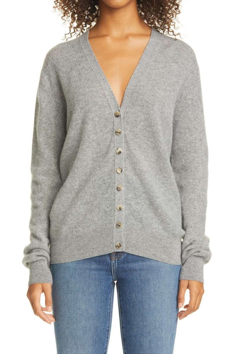 KHAITE Amelia Button Front Cashmere Cardigan, Main, color, 020