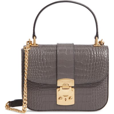 Miu Miu Croc Embossed Leather Top Handle Bag - Grey