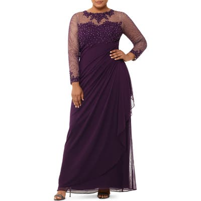 Plus Size Xscape Embellished Illusion Long Sleeve Ruched Gown, Purple