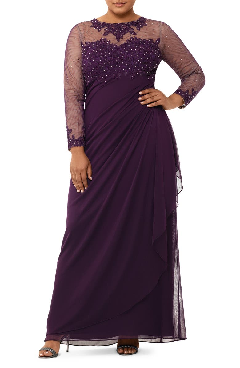 XSCAPE Embellished Illusion Long Sleeve Ruched Gown, Main, color, PLUM
