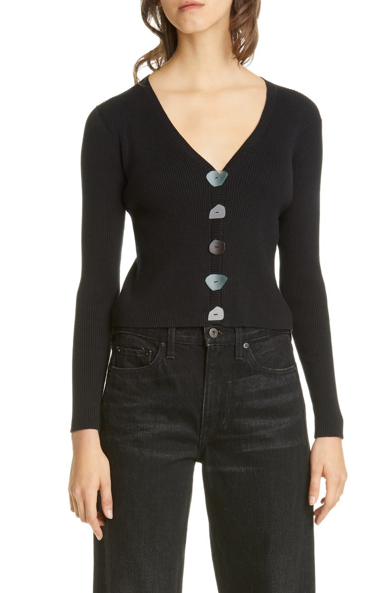 SIMON MILLER Nepa Mismatched Button Rib Cardigan, Main, color, BLACK