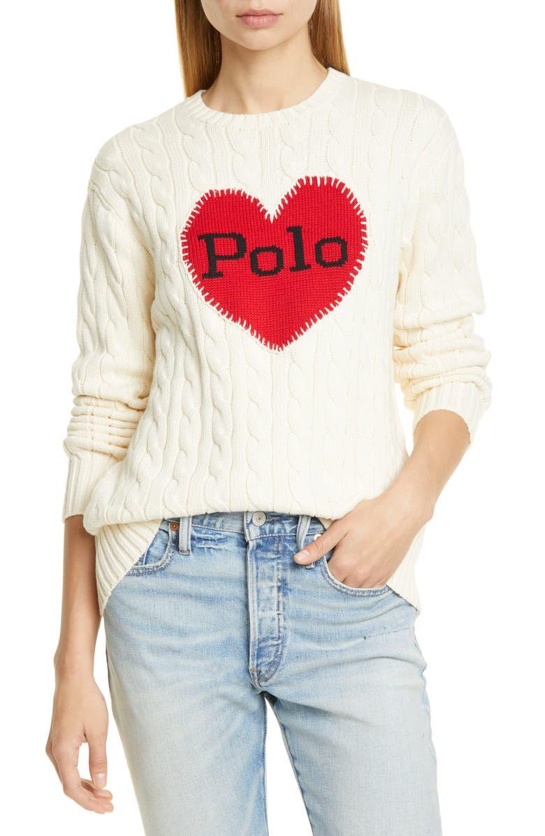 POLO RALPH LAUREN Polo Heart Cotton Crewneck Sweater, Main, color, CREAM