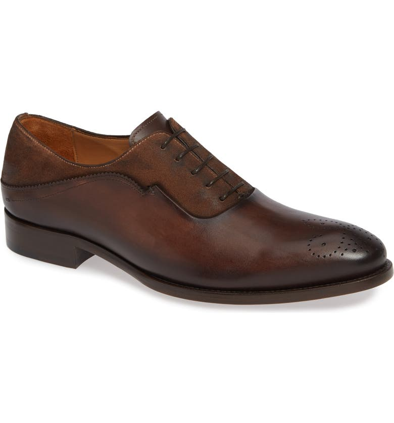 MEZLAN Hanks Longwing Oxford, Main, color, BROWN/ COGNAC LEATHER/ SUEDE