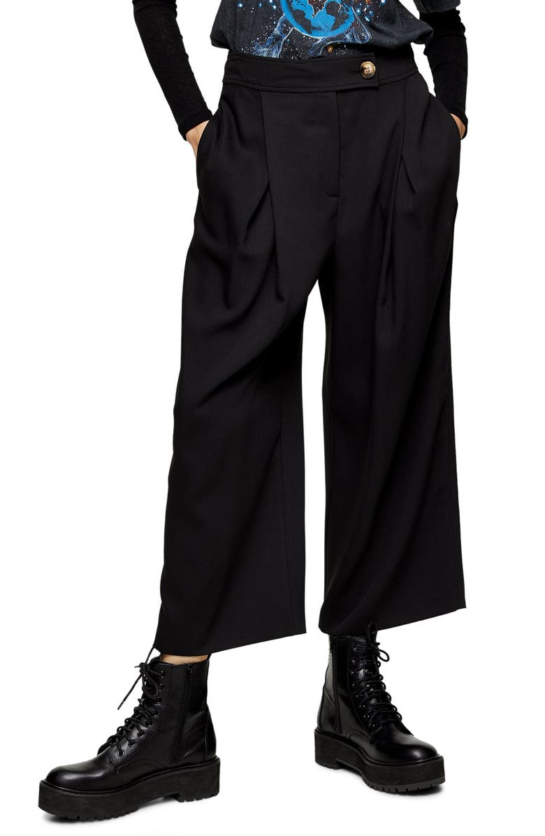 TOPSHOP Anita Wide Leg Cropped Trousers, Main, color, 001