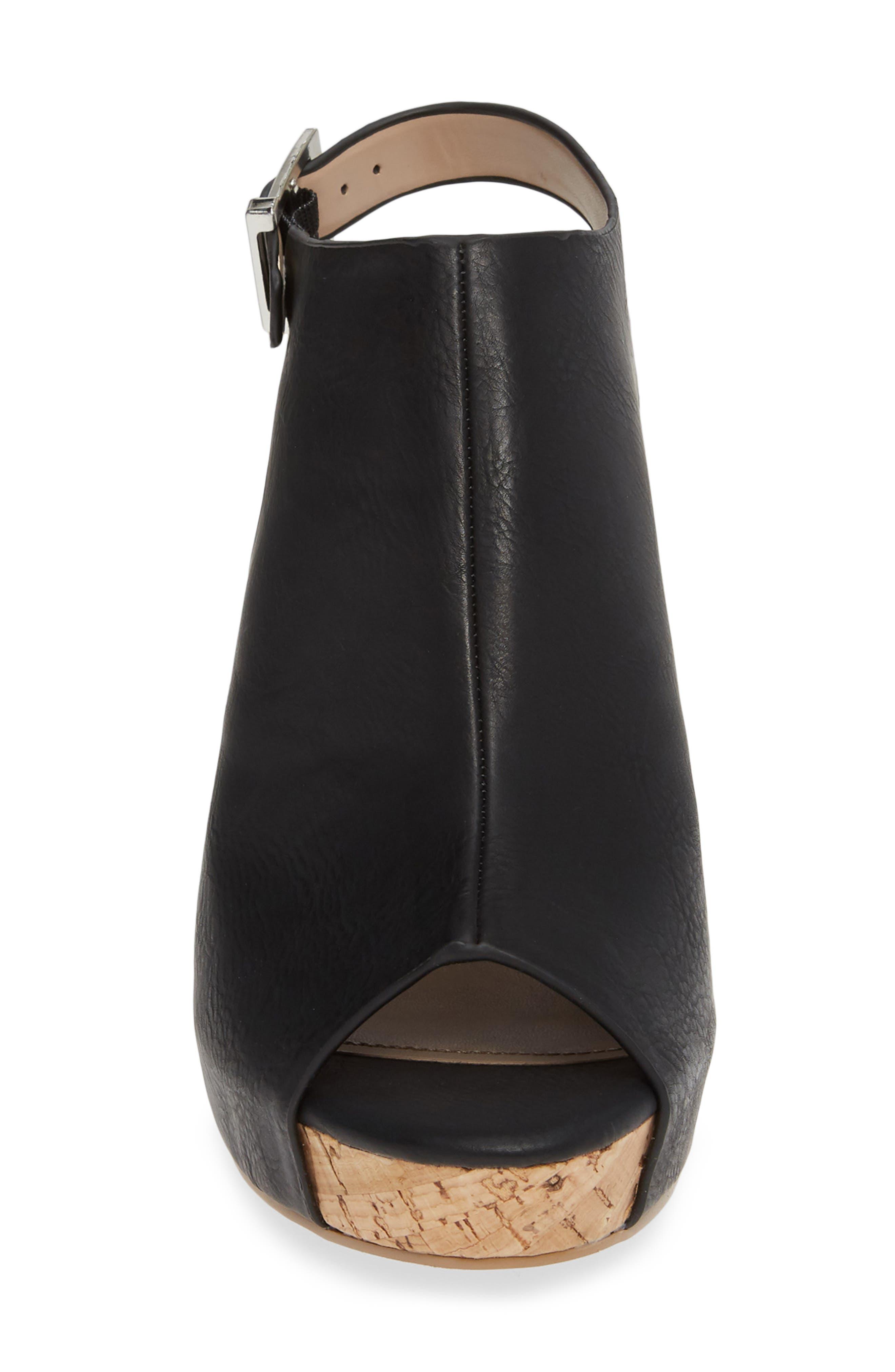 ,                             Lobby Slingback Wedge Sandal,                             Alternate thumbnail 4, color,                             BLACK FAUX LEATHER