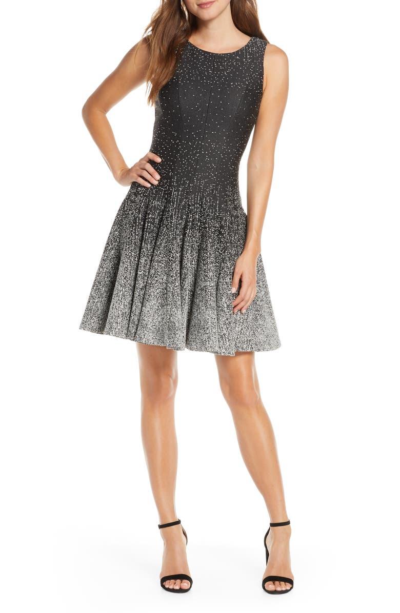 ELIZA J Ombré Dot Fit & Flare Sweater Dress, Main, color, BLACK