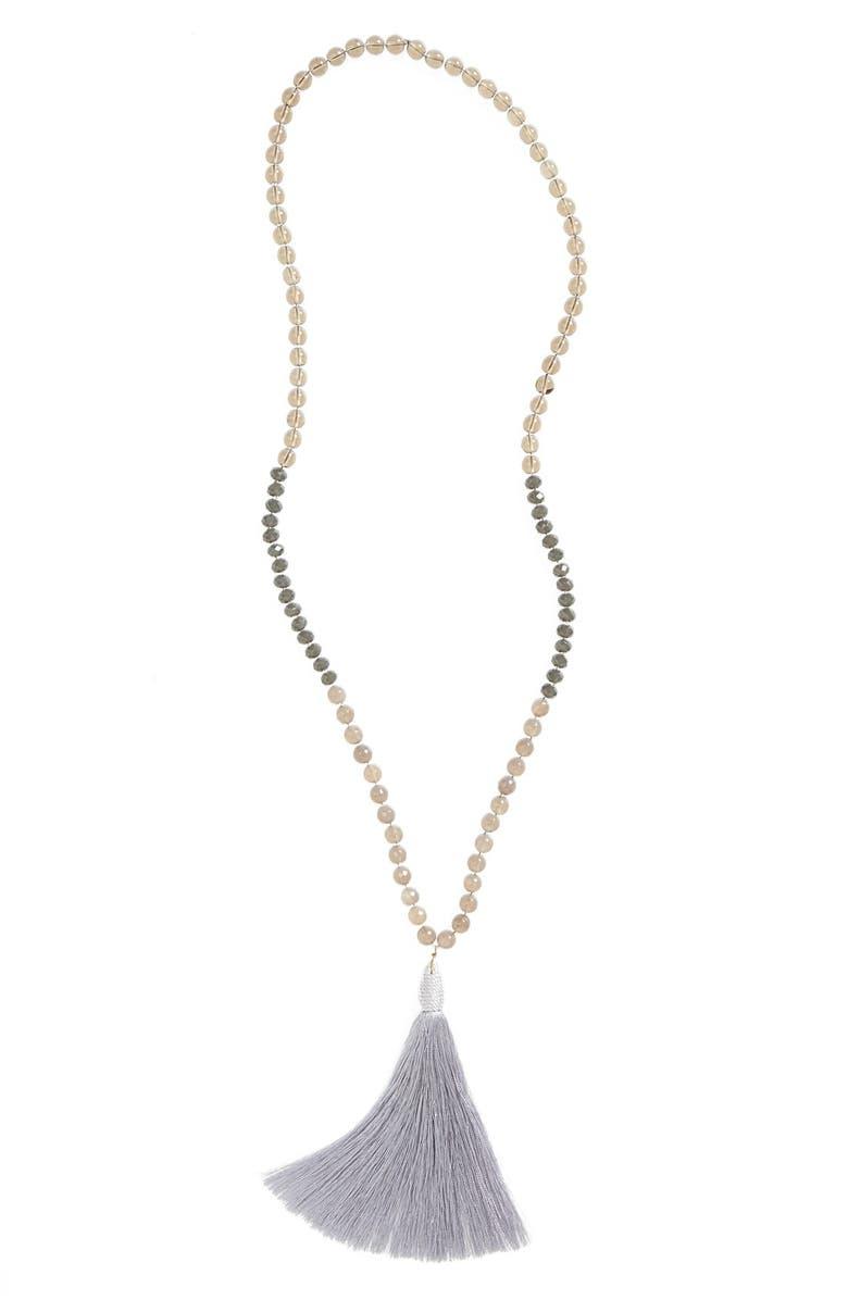 PANACEA Beaded Tassel Pendant Necklace, Main, color, 020