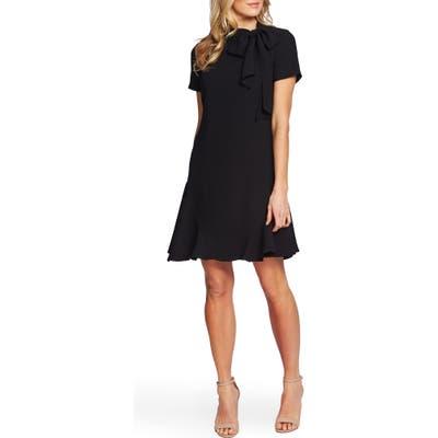 Cece Bow Neck Short Sleeve Dress, Black