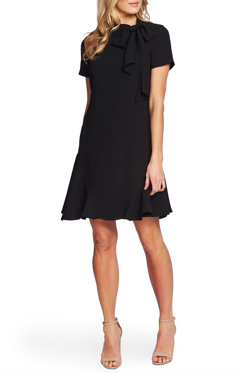 CECE Bow Neck Short Sleeve Dress, Main, color, RICH BLACK