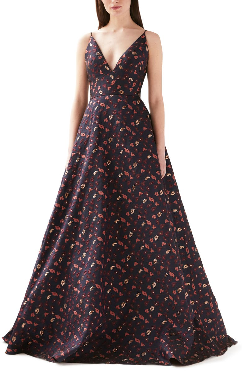 ML MONIQUE LHUILLIER Floral Jacquard Ballgown, Main, color, NAVY MULTI