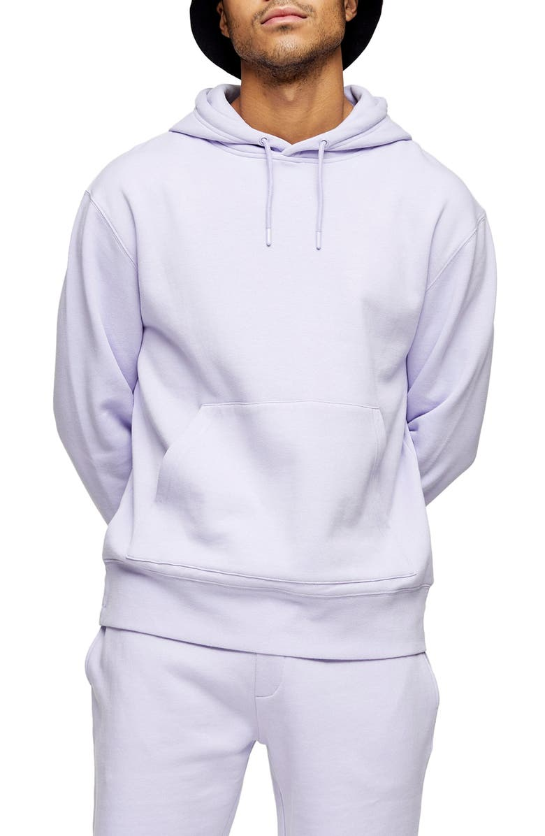TOPMAN Dry Hooded Sweatshirt, Main, color, PALE LILAC