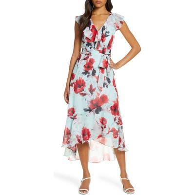 Julia Jordan Floral Ruffle High/low Wrap Dress, Blue