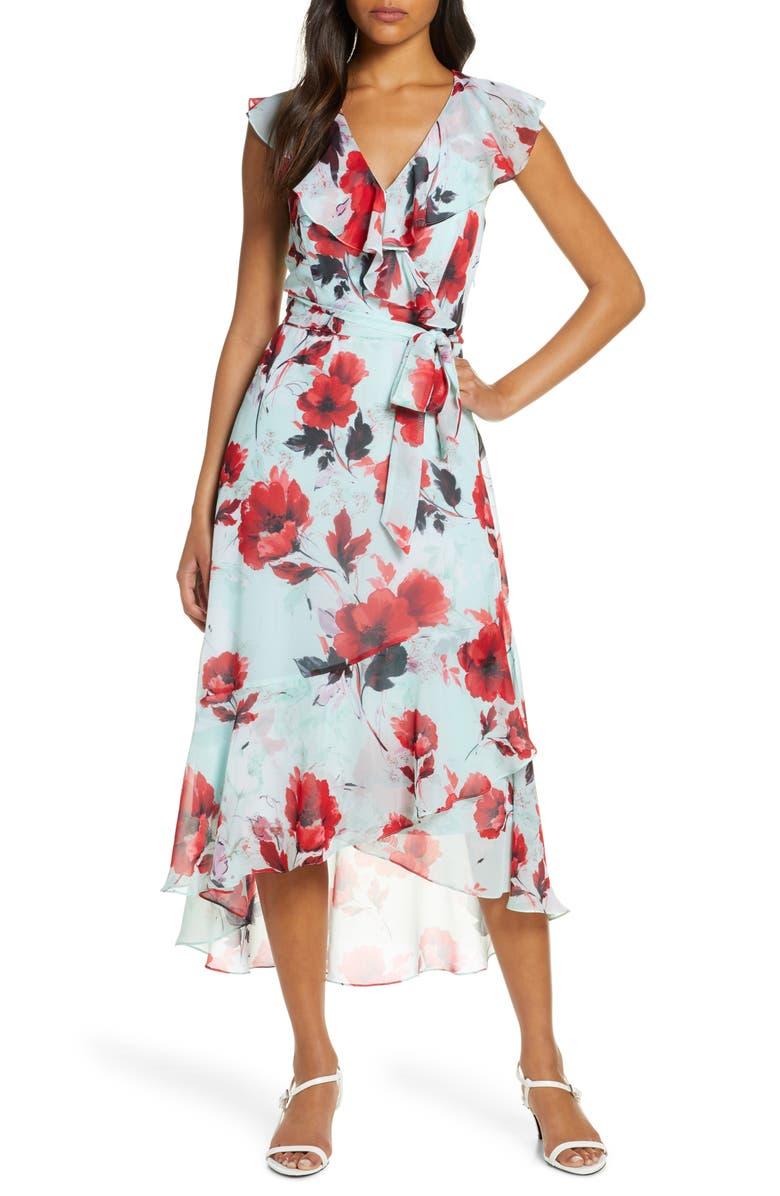 JULIA JORDAN Floral Ruffle High/Low Wrap Dress, Main, color, MINT MULTI