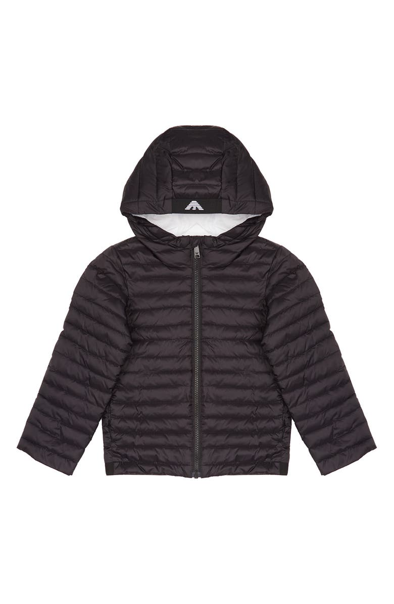 ARMANI JUNIOR Water Resistant Hooded Down Jacket, Main, color, BLACK