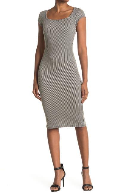 Image of Velvet Torch Square Neck Ribbed Dress