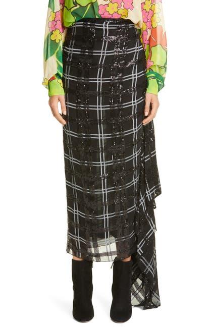 Image of DRIES VAN NOTEN Savin Sequin Plaid Asymmetrical Drape Skirt